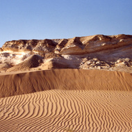 Dunes and Rudist Escarpment - Al Huqf, Oman