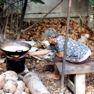 Old Woman Cooking Coconut Sweets - Damnern Saduak, Thailand