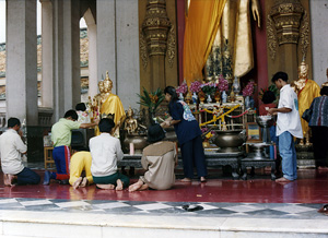 Thumbnail image of Buddhist Worshippers at Nakorn Pathom Temple,...