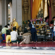 Buddhist Worshippers at Nakorn Pathom Temple, Thailand