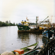 Boats on the Kuala Belait River - Brunei