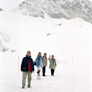 Hikers on the Aletsch Glacier - Jungfraujoch, Switzerland