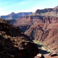 The Colorado River in the Grand Canyon from the Tonto Plateau.