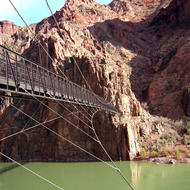 Suspension Bridge over the Colorado River on South Kiabab Trail.