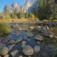 The Merced River in Yosemite Valley.