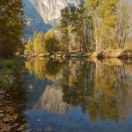 Yosemite fall color in the reflections in the Merced River.