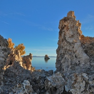 Mono lake sunrise, tufa rock formations.