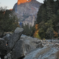Yosemite fall color, setting sun.