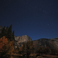 Yosemite, El Capitan at night, big star field.