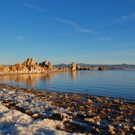 Mono Lake tufa sculptures just after sunrise.