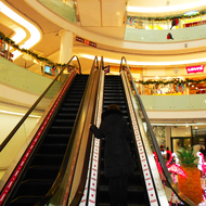 Shopping center. Escalator.