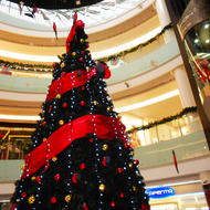 Shopping center. Christmas tree.