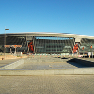 Donbass Arena. Autumn fountain without water.
