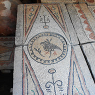 Ancient mosaic bird.
