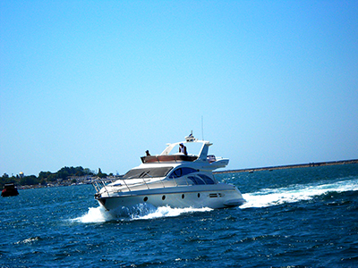 Thumbnail image of Speed boat on the waves.