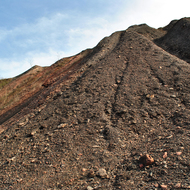 The left side of the slag heap.