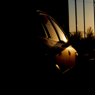 Car at sunset.