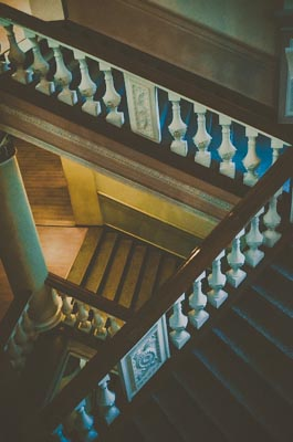 Thumbnail image of Stairs in a library.