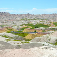 The Yellow Mounds area of Badlands.  The mounds are an example of a fossil soil  named paleosol.  They were black ocean mud which was exposed to air and then weathered into yellow soil.