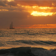 Sailboat at dawn.