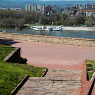 View of the Danube River and Novi Sad from the Petrovaradin Fortress.