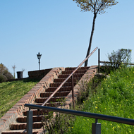 Steps up to a plaza at Petrovaradin Fortress.