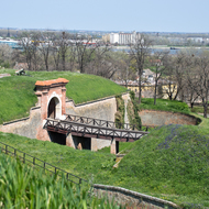 Bridge across a moat at Petrovaradin Fortress.