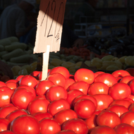 Tomatoes at the Green Market in Belgrade.