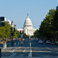 U.S. Capitol, looking down Pennsylvania Avenue.