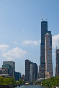 Thumbnail image of Chicago skyline and Willis Tower from the Chicago...