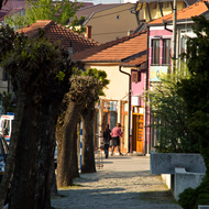 Street view from the City Park in Vranje, Serbia.