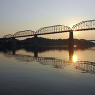 Chattanooga's Walnut Street pedestrian bridge in the morning.