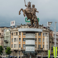 Warrior on a Horse in the central plaza.