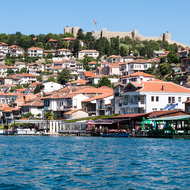 View of Ohrid from the harbor, with Somali's Fortress in the background.