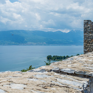 Wall of Samoli's Fortress, overlooking Lake Ohrid.