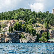 Churches overlooking Lake Ohrid.