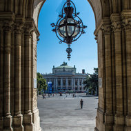 View of the Burgtheater from the entrance of the RatHaus.