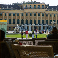 Cafe view of Schönbrunn Palace.