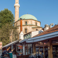 Mosque behind Bazaar shop in Old Sarajevo.