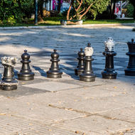 Chess pieces set out in Trg Oslobođenja (Liberation Square).