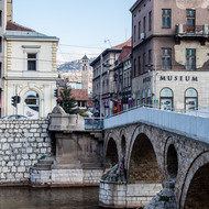 Latin Bridge (Latinska ćuprija) and the corner where Archduke Ferdinand was assassinated (in front of the Museum).
