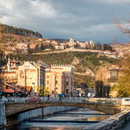 View of the old fort (Bijela tabija) above Sarajevo, from the river.