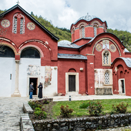 Dečani Monastery Church (Manastir Visoki Dečani) and one of the nuns.