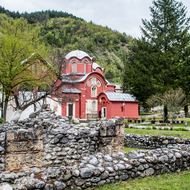 Inside the Dečani Monastery (Manastir Visoki Dečani), showing the original walls and buildings and the monastery church.