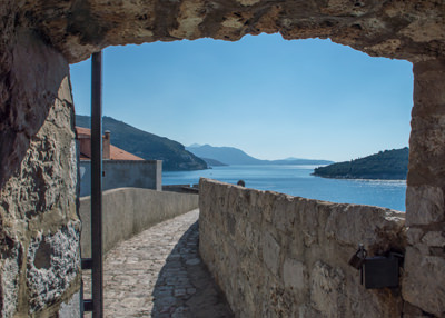Thumbnail image of Walkway along the top of the wall around Dubrovnik.