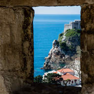 Lovrijenac fortress through a window in the city walls.