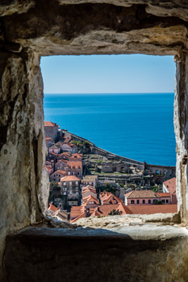 Thumbnail image ofView of Dubrovnik and the sea through a window...