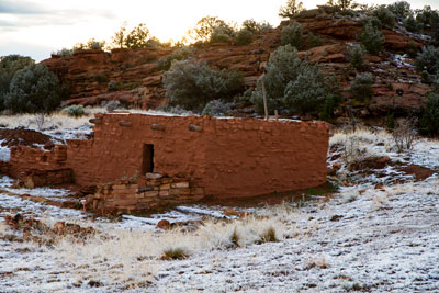 Thumbnail image ofOld Puebloan dwelling with a light snow cover.