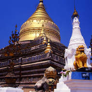 Shwezigon pagoda, the most important reliquary shrine in Bagan
