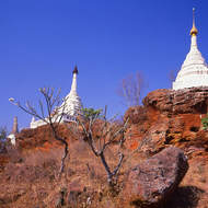Pagodas occupying high points in the dusty plains of Bagan.
